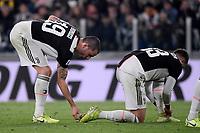 Leonardo Bonucci of Juventus cleans a shoe of Federico Bernardeschi <br /> Torino 19/10/2019 Allianz Stadium <br /> Football Serie A 2019/2020 <br /> Juventus FC - Bologna <br /> Photo Federico Tardito / Insidefoto