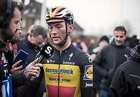 Yves Lampaert (BEL/Deceuninck-Quick Step), post race, interview<br /> <br /> 71st Kuurne-Brussel-Kuurne (2019)<br /> Kuurne > Kuurne 201km (BEL)<br /> <br /> ©kramon