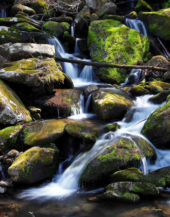 Water tumbles down Noisy Creek Cascades. Smoky Mountain photos by Gordon and Jan Brugman.