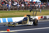 Jun 12, 2016; Englishtown, NJ, USA; NHRA top fuel driver Tony Schumacher during the Summernationals at Old Bridge Township Raceway Park. Mandatory Credit: Mark J. Rebilas-USA TODAY Sports