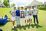 MUSCLE SHOALS, AL - MAY 25: The Lynn University team poses with the championship trophy during the Division II Men's Team Match Play Golf Championship held at the Robert Trent Jones Golf Trail at the Shoals, Fighting Joe Course on May 25, 2018 in Muscle Shoals, Alabama. Lynn defeated West Florida 3-2 to win the national title. (Photo by Cliff Williams/NCAA Photos via Getty Images)