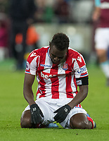 Mame Biram Diouf of Stoke City during the Premier League match between West Ham United and Stoke City at the Olympic Park, London, England on 16 April 2018. Photo by Andy Rowland.