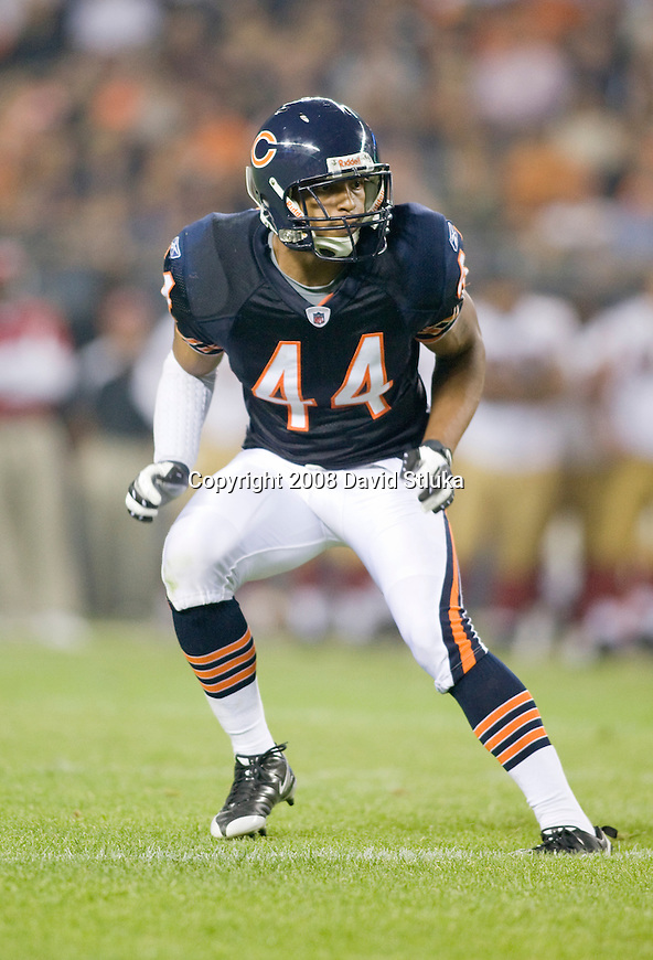 Defensive back Kevin Payne #44 of the Chicago Bears plays defense against the San Francisco 49ers at Soldier Field on August 21, 2008 in Chicago, Illinois. The 49ers defeated the Bears 37-30. (AP Photo/David Stluka)
