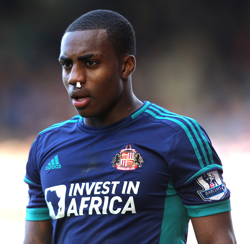 Sunderland's Danny Rose is injured ..Football - Barclays Premiership - West Ham United v Sunderland - Saturday 22nd September 2012 - Boleyn Ground - London..