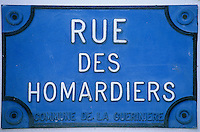 Europe/France/Pays de la Loire/85/Vendée/Ile de Noirmoutier/La Guérinière: Plaque de la rue des Homardiers