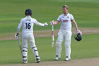Simon Harmer (R) and Sam Cook in batting action for Essex during Essex CCC vs Yorkshire CCC, Specsavers County Championship Division 1 Cricket at The Cloudfm County Ground on 4th May 2018