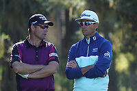 Padraig Harrington (IRL) and Rafa Cabrera Bello (ESP) in action at Monterey Peninsula during the first round of the AT&T Pro-Am, Pebble Beach Golf Links, Monterey, California, USA. 06/02/2020<br /> Picture: Golffile | Phil Inglis<br /> <br /> <br /> All photo usage must carry mandatory copyright credit (© Golffile | Phil Inglis)
