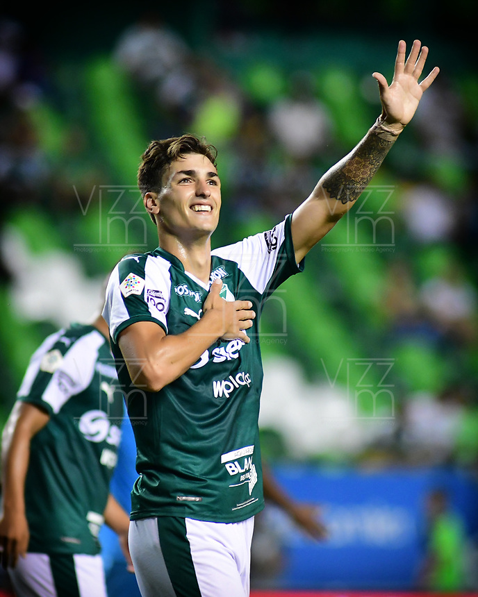 PALMIRA - COLOMBIA, 20-07-2019: Juan Ignacio Dinenno del Cali celebra después de anotar el tercer gol de su equipo durante partido entre Deportivo Cali y Jaguares de Córdoba por la fecha 2 de la Liga Águila II 2019 jugado en el estadio Deportivo Cali de la ciudad de Palmira. / Juan Ignacio Dinenno of Cali celebrates after scoring the third goal of his team during match between Deportivo Cali and Jaguares de Cordoba for the date 2 as part Aguila League II 2019 played at Deportivo Cali stadium in Palmira city. Photo: VizzorImage / Nelson Rios / Cont