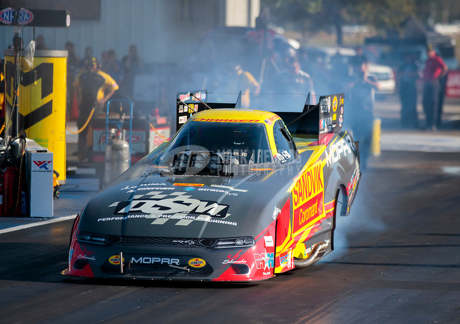 Sep 27, 2019; Madison, IL, USA; NHRA funny car driver Matt Hagan during qualifying for the Midwest Nationals at World Wide Technology Raceway. Mandatory Credit: Mark J. Rebilas-USA TODAY Sports