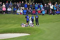 Bronte Law & Carlota Ciganda of Team Europe on the 10th green during Day 1 Fourball at the Solheim Cup 2019, Gleneagles Golf CLub, Auchterarder, Perthshire, Scotland. 13/09/2019.<br /> Picture Thos Caffrey / Golffile.ie<br /> <br /> All photo usage must carry mandatory copyright credit (© Golffile | Thos Caffrey)