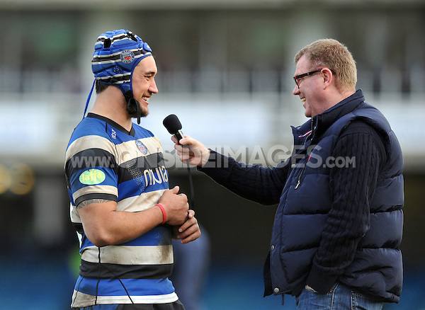 Man of the Match Leroy Houston is interviewed at full-time. Aviva Premiership match, between Bath Rugby and London Wasps on February 22, 2014 at the Recreation Ground in Bath, England. Photo by: Patrick Khachfe / Onside Images