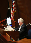 Nevada Assembly Speaker John Hambrick, R-Las Vegas, works on the Assembly floor at the Legislative Building in Carson City, Nev., on Sunday, May 31, 2015.  <br /> Photo by Cathleen Allison