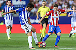 Atletico de Madrid's Kevin Gameiro and Deportivo Alaves's Edgar Mendez during the match of La Liga Santander between Atletico de Madrid and Deportivo Alaves at Vicente Calderon Stadium. August 21, 2016. (ALTERPHOTOS/Rodrigo Jimenez)