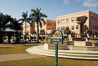 Mizner Park-Plaza Real, named after pioneer Boca Raton architect Addison Mizner in Boca Raton, Florida. Resorts, city planning, ornamental architecture, fountains, cityscape, urban design. Boca Raton Florida USA Plaza Real.