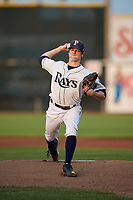 Princeton Rays starting pitcher Stephen Yancey (15) delivers a pitch during the second game of a doubleheader against the Johnson City Cardinals on August 17, 2018 at Hunnicutt Field in Princeton, Virginia.  Princeton defeated Johnson City 12-1.  (Mike Janes/Four Seam Images)