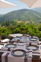 Europe/France/Aquitaine/64/Pyrénées-Atlantiques/Pays Basque/Bidarray: Auberge Ostapé - la terrasse du restaurant