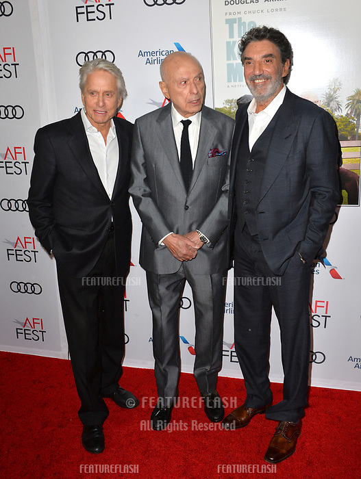 """LOS ANGELES, CA. November 10, 2018: Michael Douglas, Alan Arkin & Chuck Lorre at the AFI Fest 2018 world premiere of """"The Kominsky Method"""" at the TCL Chinese Theatre.<br /> Picture: Paul Smith/Featureflash"""