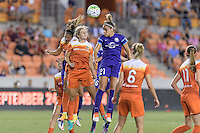 Houston, TX - Saturday Sept. 03, 2016: Carli Lloyd, Ellie Brush, Monica Hickman Alves during a regular season National Women's Soccer League (NWSL) match between the Houston Dash and the Orlando Pride at BBVA Compass Stadium.
