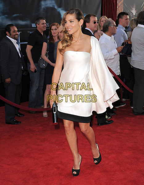 "ELSA PATAKY.The Marvel Studios Premiere of ""THOR"" held at The El Capitan Theatre in Hollywod, California, USA. .May 2nd, 2011.full length black white one shoulder sleeve dress.CAP/RKE/DVS.©DVS/RockinExposures/Capital Pictures."