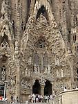 Nativity Facade, Sagrada Familia Church, Barcelona, Spain by Antonio Gaudi.