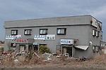 Odaka dans la préfecture de Fukushima, le 10.03.2013.A quinze kilomètres de la centrale nucléaire de Fukushima..Faisant suite à l'important tremblement de terre du 11 mars 2011 cette zone de la ville d'Odaka à été entièrement ravagée par le Tsunami. Après l'explosion de la centrale nucléaire foute la ville d'Osaka et cette zone on été considérée comme contaminée par la radioactivité, ainsi aucun travaux de déblaiement n'a put être fait et les habitants de la ville contraint à s'exiler. .© Jean-Patrick Di Silvestro