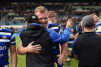 Jacques van Rooyen of Bath Rugby with first team coach Darren Edwards after the match. Gallagher Premiership match, between Leicester Tigers and Bath Rugby on May 18, 2019 at Welford Road in Leicester, England. Photo by: Patrick Khachfe / Onside Images
