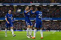 Chelsea's Willian celebrates scoring the opening goal with team mate Cesar Azpilicueta <br /> <br /> Photographer Craig Mercer/CameraSport<br /> <br /> The Premier League - Chelsea v Crystal Palace - Saturday 10th March 2018 - Stamford Bridge - London<br /> <br /> World Copyright &copy; 2018 CameraSport. All rights reserved. 43 Linden Ave. Countesthorpe. Leicester. England. LE8 5PG - Tel: +44 (0) 116 277 4147 - admin@camerasport.com - www.camerasport.com
