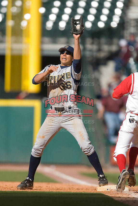 First baseman Ryan Fisher #36 of the UC-Irvine Anteaters fields a throw in time to get a Houston Cougar runner at the 2009 Houston College Classic at Minute Maid Park February 28, 2009 in Houston, TX.  The Anteaters defeated the Cougars 13-7. (Photo by Brian Westerholt / Four Seam Images)