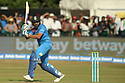 India's Mahendra Singh plays a shot  during a T20 match between Ireland and India at the Malahide cricket club in Dublin on June 27, 2018. Photo/Paul McErlane