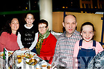 Aoife and Minnie Horgan from Brosna, both celebrated their birthdays with family last Friday night in the Kingdom Greyhound Stadium, L-R Marie, Aoife, Minnie, William&Sadhbh Horgan.