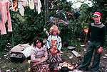 Irish Travellers family mother children with Bender sleeping accommodation West Coast Southern Ireland Eire