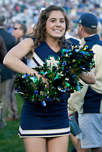 Notre Dame cheerleader Kelly Jenko performs during NCAA football game between Notre Dame and Michigan State.  The Notre Dame Fighting Irish defeated the Michigan State Spartans 31-13 in game at Notre Dame Stadium in South Bend, Indiana.