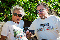 North Shore, Oahu, Hawaii (Friday, December 6, 2013) Herbie Fletcher (USA) and  renowned artist Julian Schnabel (USA). – Astrodecks' Herbie Fletcher set up the annual Wave Warriors photo shoot at Off The Wall today. Photo: joliphotos.com