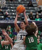 Fayetteville's Sasha Goforth comes down with a rebound in front of Van Buren's Lexi Miller Tuesday Feb. 11, 2020. More images at nwaonline.com/prepbball/(NWA Democrat-Gazette/J.T. Wampler)