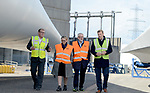Pictured:  Labour leader Jeremy Corbyn visiting the Fawley Power Station.  Pictured with James Luter (Director of Production Blades UK), Rebecca Long Bailey MP and Julian Brown (UK Country Manager for MHI Vestas).<br /> <br /> Labour Leader Jeremy Corbyn to visits a wind turbine facility in Southampton today, Wednesday.  <br />  <br /> On a visit to a wind turbine logistics facility in Southampton, Leader of the Labour Party Jeremy Corbyn MP will set out how Labour's policy to invest in green energy will create jobs and benefit coastal communities across the UK. <br /> <br /> © Roger Arbon/Solent News & Photo Agency<br /> UK +44 (0) 2380 458800