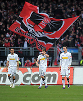 FUSSBALL   1. BUNDESLIGA  SAISON 2011/2012   24. Spieltag 1. FC Nuernberg - Borussia Moenchengladbach      04.03.2012 Martin Stranzl , Havard Nordtveit , Roman Neustaedter (v. li., Borussia Moenchengladbach)