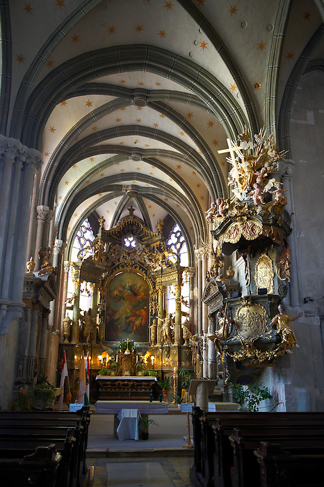 Baroque interior of the Goat's Church (Kecske templom )- Sopron, Hungary