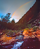 Summer Rainbow in West Canyon, West Fork of the Virgin River, Zion National Park, Utah