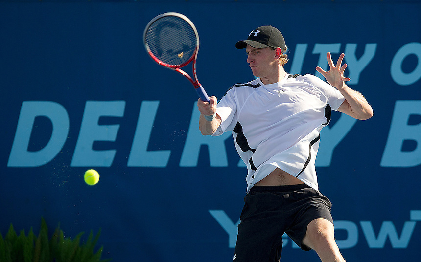 Kevin Anderson (RSA) in action during his second round match against Xavier Malisse (BEL) today..ATP 250 Tennis - 2012 Delray Beach International Tennis Championships - Day 4 - Thursday 01 March 2012 - Delray Beach Stadium & Tennis Center - Delray Beach - Florida - USA..