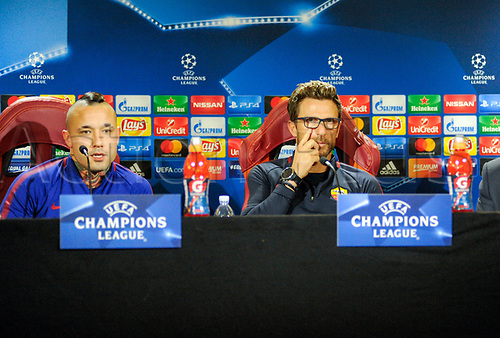 October 30th 2017, Rome, Italy; Press conference for AS Roma before their Champions League game versus Chelsea on 31st October in Rome;  Eusebio Di Francesco and Radja Nainggolan