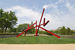Washington DC; USA: Sculpture on the Mall in front of the Hirshhorn Museum.  Marc di Suvero's Are Years What? (For Marianne Moore).Photo copyright Lee Foster Photo # 13-washdc79558