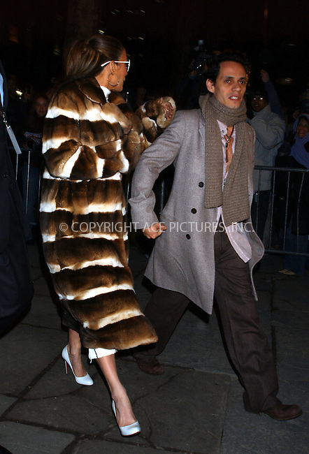 WWW.ACEPIXS.COM . . . . .  ....NEW YORK, FEBRUARY 11, 2005....Jennifer Lopez and Marc Anthony arrive for Jennifer's very first fashion line, Sweetface Fall 2005.....Please byline: KRISTIN CALLAHAN - ACE PICTURES.... *** ***..Ace Pictures, Inc:  ..Philip Vaughan (646) 769-0430..e-mail: info@acepixs.com..web: http://www.acepixs.com