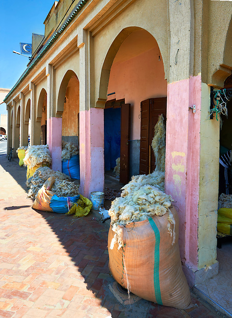 Wool dealers on the edge of the Medina. A UNESCO World Heritage Site .Meknes, Meknes-Tafilalet, Morocco.