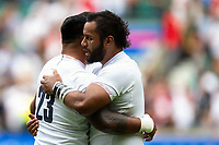 Billy Vunipola of England with team-mate Manu Tuilagi. Quilter International match between England and Wales on August 11, 2019 at Twickenham Stadium in London, England. Photo by: Patrick Khachfe / Onside Images