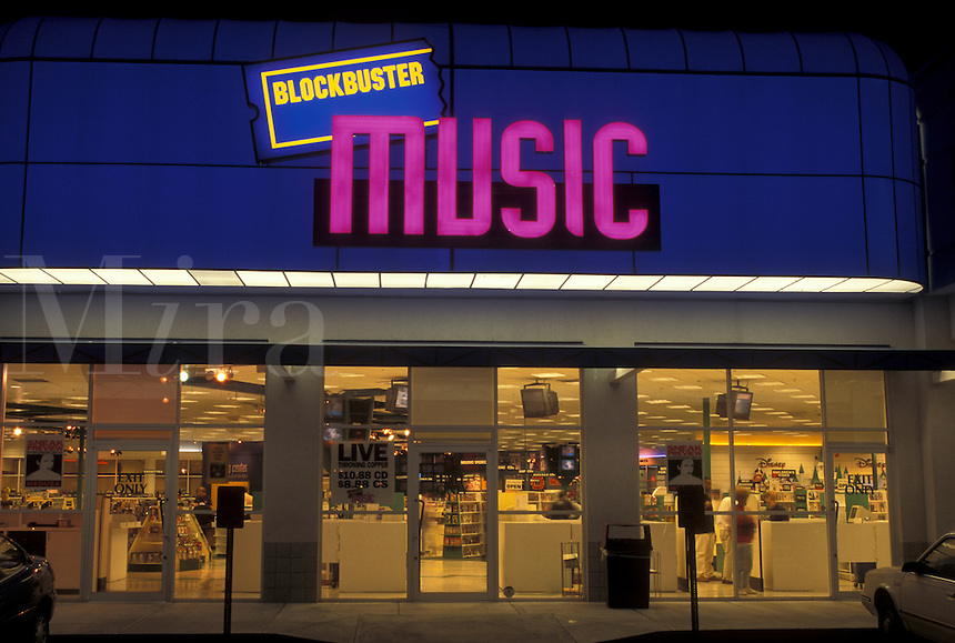 Atlanta, GA, Georgia, Blockbuster Music Store illuminated at night with neon lights.