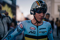 Ilan Van Wilder (BEL)<br /> <br /> post-race battlefield in the finish zone<br /> <br /> MEN JUNIOR INDIVIDUAL TIME TRIAL<br /> Hall-Wattens to Innsbruck: 27.8 km<br /> <br /> UCI 2018 Road World Championships<br /> Innsbruck - Tirol / Austria