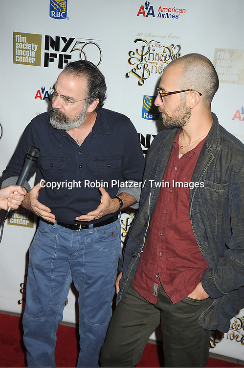 """Mandy Patinkin and son Isaac Patinkin arrive at """"The Princess Bride""""  screening presented by the Film Society of Lincoln Center and the Academy of Motion Pictures Arts and Sciences at the 2012 New York Film Festival on October 2, 2012 at Alice Tully Hall in  New York City. Rob Reiner was the director and the cast included Billy Crystal, Cary Elwes, Caril Kane, Mandy Patinkin, Chris Sarandon and Rboin Wright."""