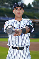 Pulaski Yankees infielder Anthony Volpe (12) poses for a photo prior to the game against the Danville Braves at Calfee Park on June 30, 2019 in Pulaski, Virginia. The Braves defeated the Yankees 8-5 in 10 innings.  (Brian Westerholt/Four Seam Images)