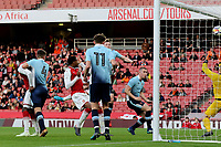 Danny Bullard (hidden) scores Arsenal's second goal with a powerful header during Arsenal Youth vs Blackpool Youth, FA Youth Cup Football at the Emirates Stadium on 16th April 2018