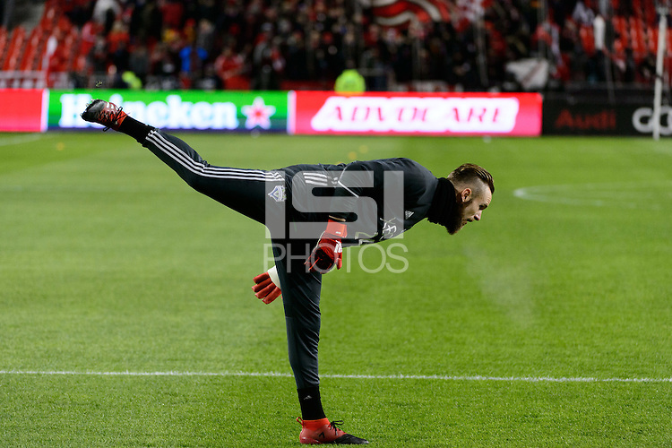 Toronto, ON, Canada - Saturday Dec. 10, 2016: Stefan Frei during warmups prior to the MLS Cup finals at BMO Field.